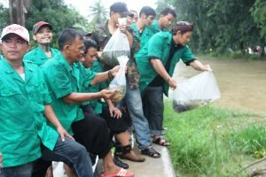 Peduli Lingkungan, Pemuda Ansor Kota Bekasi Tebar Ribuan Benih Ikan di Kalimalang